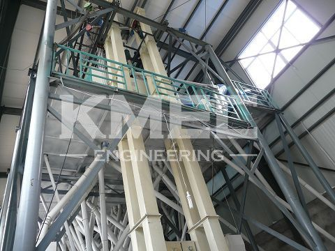 upward view of flour mill plant